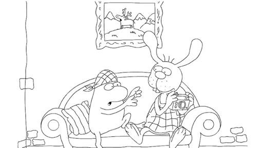 Nulli und Priesemut auf dem Sofa - Die Seite mit der Maus ...