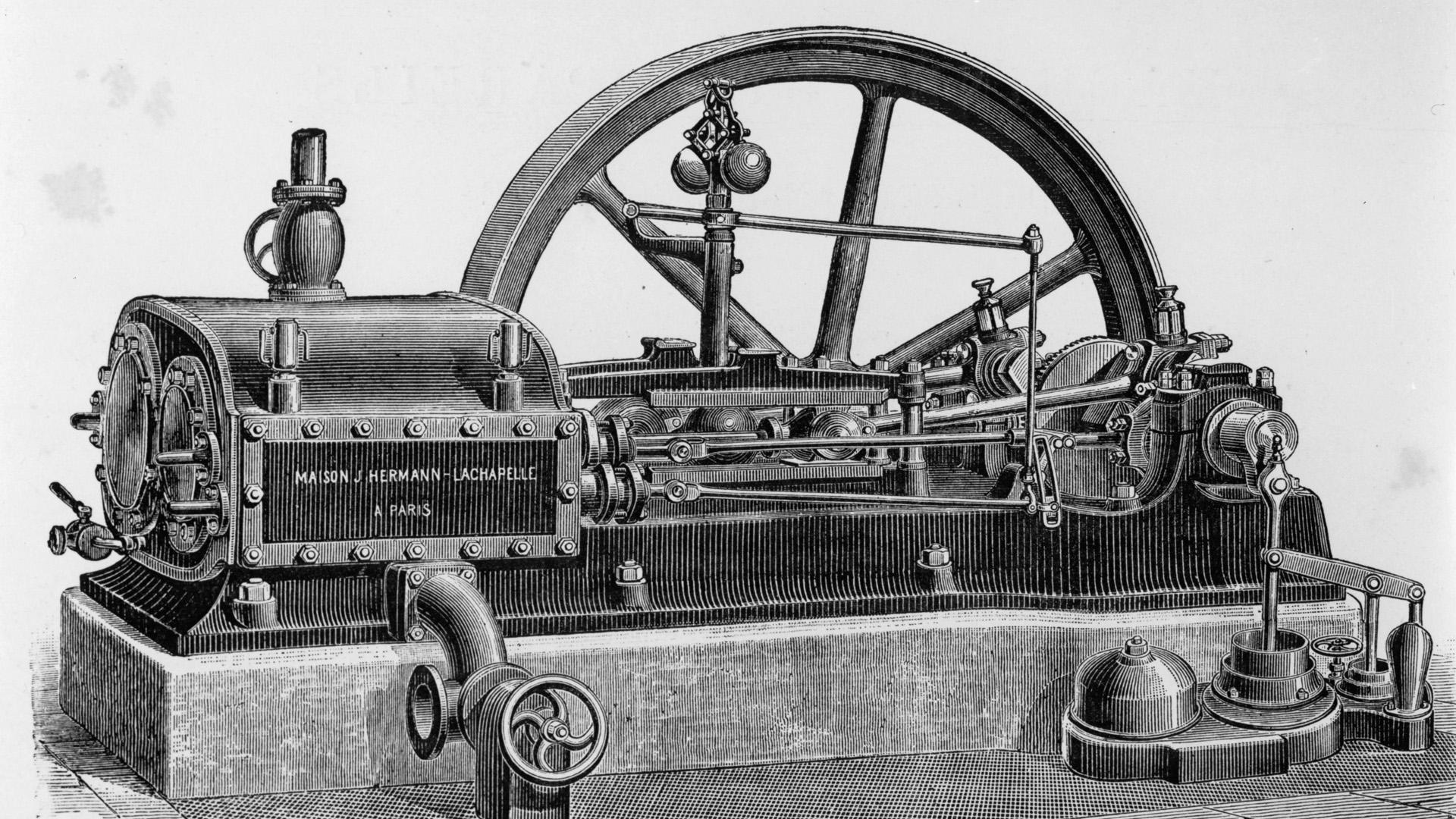 Dampfmaschine / Holzstich 1889 - Steam Engine / Woodcut / 1889 - Machine a vapeur / Gravure sur bois 1889