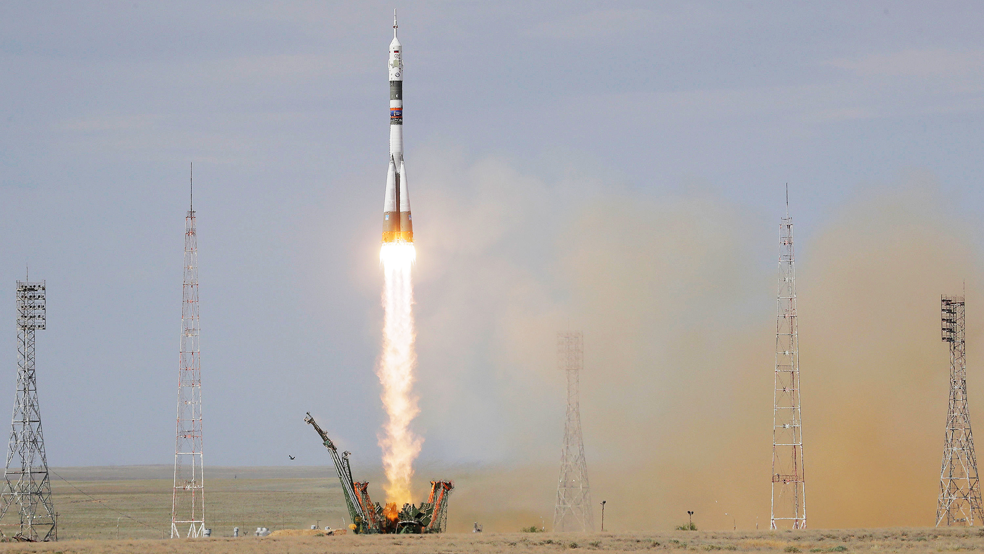Die Sojus-Rakete startet